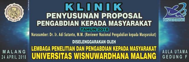 KLINIK PENYUSUNAN PROPOSAL PENGABDIAN KEPADA MASYARAKAT TAHUN 2018